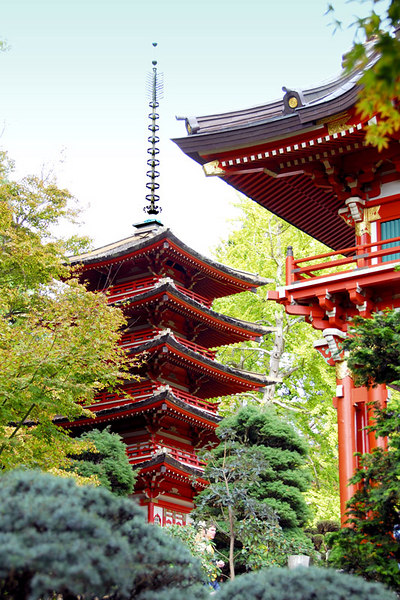 These are Pagodas or Japanese Ceremonial Pavilion at the Japanese Tea Garden.  More pictures of the this garden may be viewed at    JAPANESE TEA GARDEN