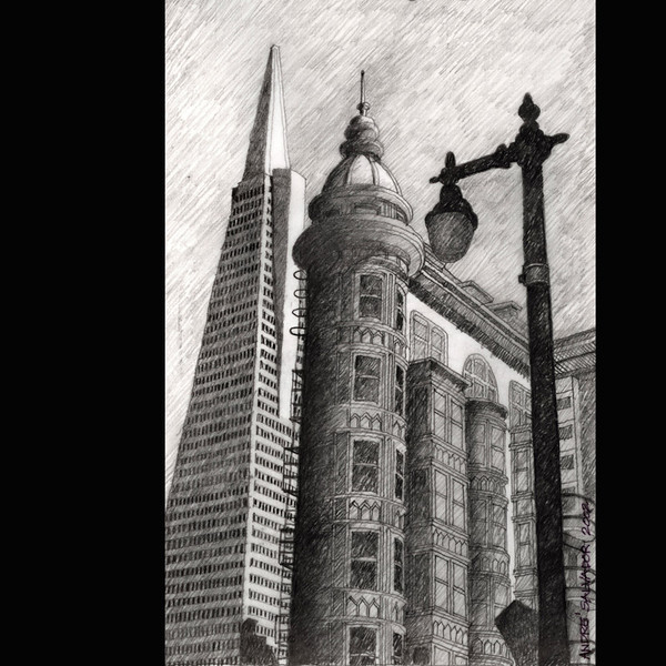 "Title: The Historic Sentinel Building Medium: Pencil drawing on 8.5"" x 11"" tracing paper Size: 6.5""w x 10""h Date: 2002  The original is not for sale.  I did this drawing from a photograph after I finished the design drawing for the San Francisco Fire Department and office Building."