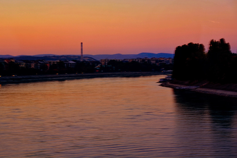 PAST SUNSET AT THE DANUBE RIVER
