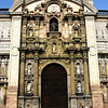 A view of the center architectural feature and main entrance of the cathedral shows the richness of it's Baroque Style