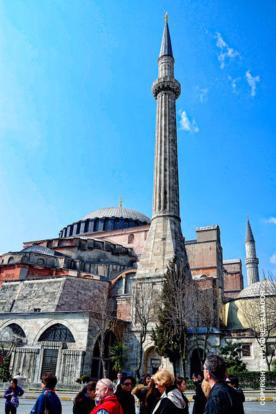 "A view as we left Hagia Sophia. It is an unforgettable architectural structure.  I hope it stands forever. The research on it by the Smithsonian worries me. <br /> <br /> In addition to the obvious challenges—leaks, cracks and neglect—an invisible menace may pose an even greater danger. Istanbul sits squarely atop a geologic fault line. ""There most definitely are seismic threats to Hagia Sophia, and they are great,"" says Stephen J. Kelley, a Chicago-based architect and engineer who consults on Byzantine churches in Turkey, the former Soviet Union and the Balkans. ""One tremor and the whole thing could come falling down."""