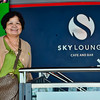 Beth is all smiles as we are about to take our coffee break at the Sky Lounge of the Sky Tower.